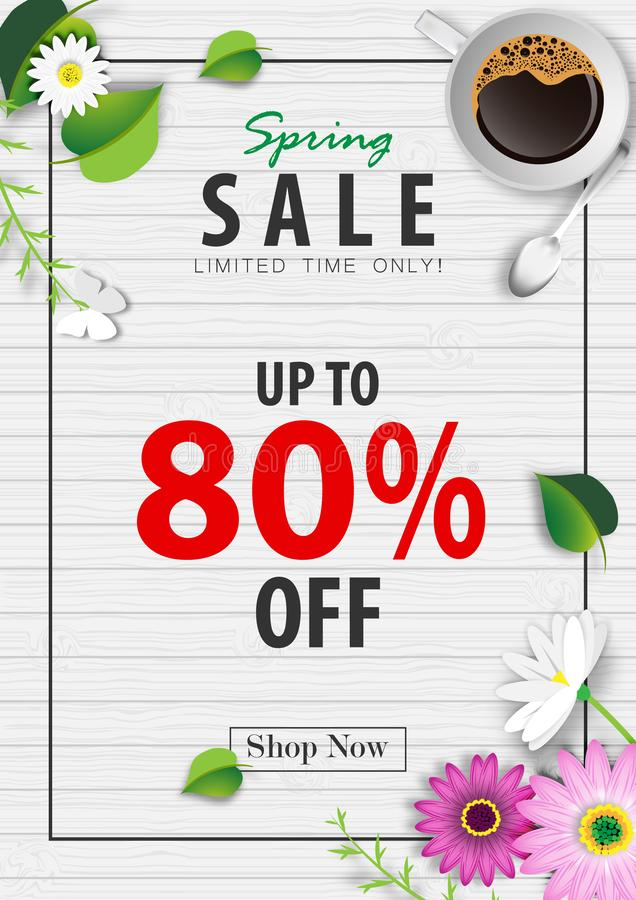 Spring sale banner background with coffee cup and green leaf on wood texture vector stock illustration