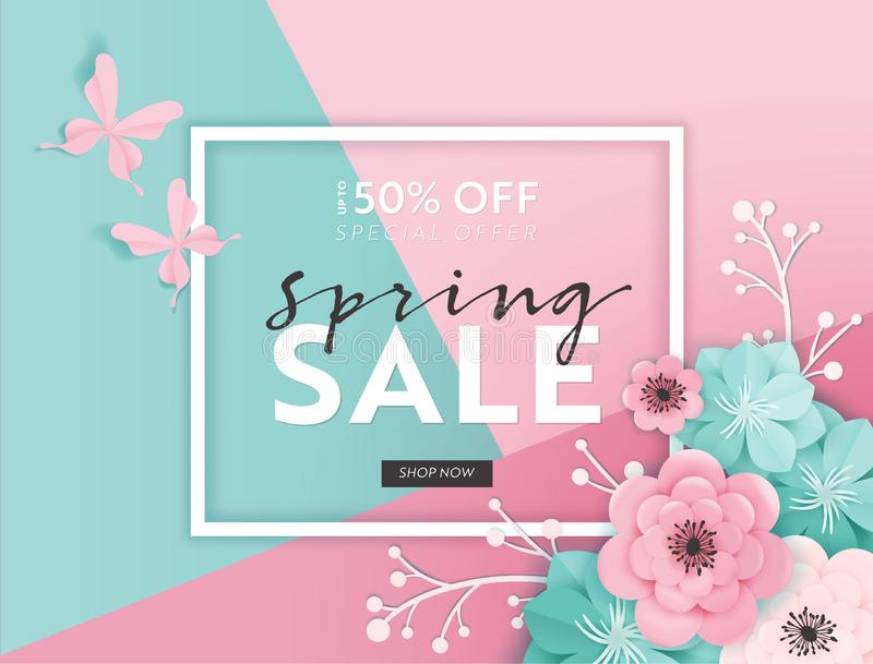 Spring Sale Banner Background with Paper Cut Flowers. Spring Discount Voucher Template, Brochure, Poster, Advertising royalty free illustration