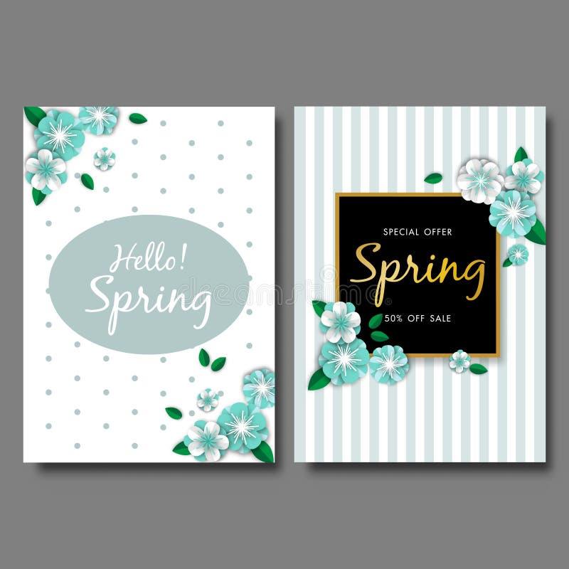 Spring sale banner background set vector or illustration template vector illustration