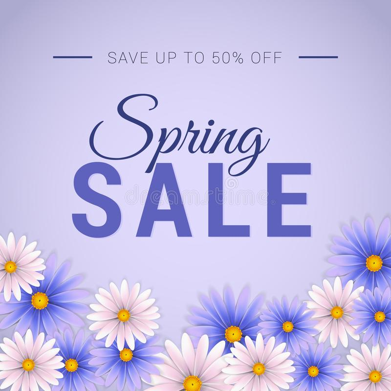 Spring sale banner with beautiful white and lavender flower. Web banner template. Social media banner, posters, brochure, voucher discount royalty free illustration