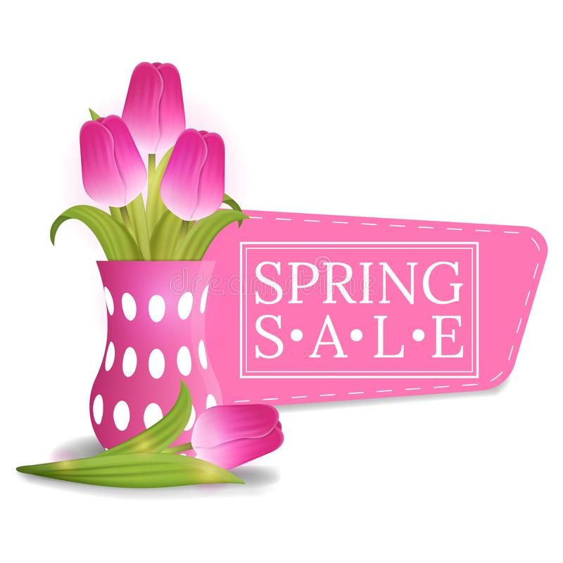 Spring Sale Banner with Bouquet of Tulips. Voucher, flyers, invitation, posters, brochure, coupon discount, greeting card. Vector. royalty free illustration