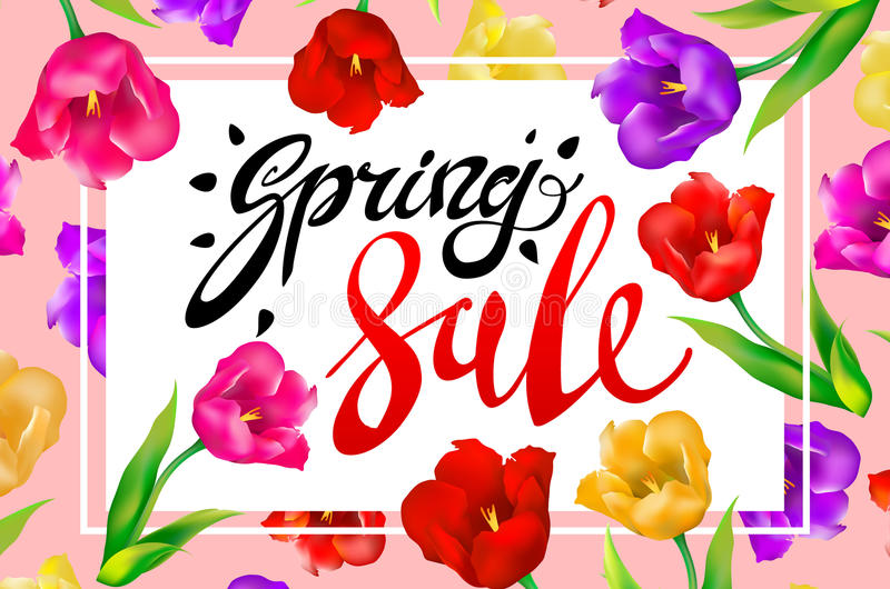 Download Spring Sale Banner Colotful Tulips Flowers Pink Background With Lettering Template For Greeting