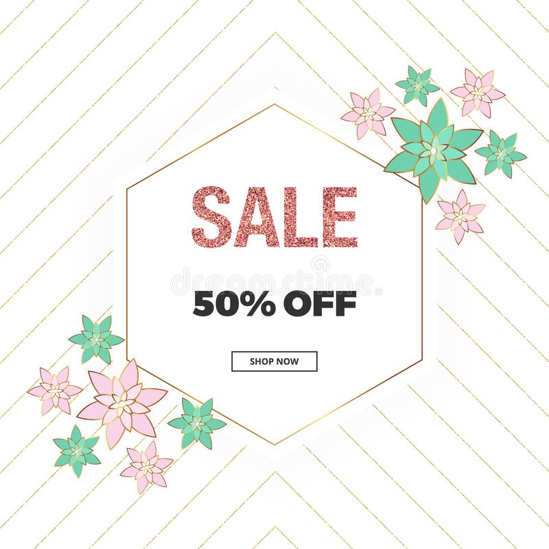 Spring sale banner, cover placard with pink and green flowers, gold glitter texture. Place for your text. Template for online shop vector illustration