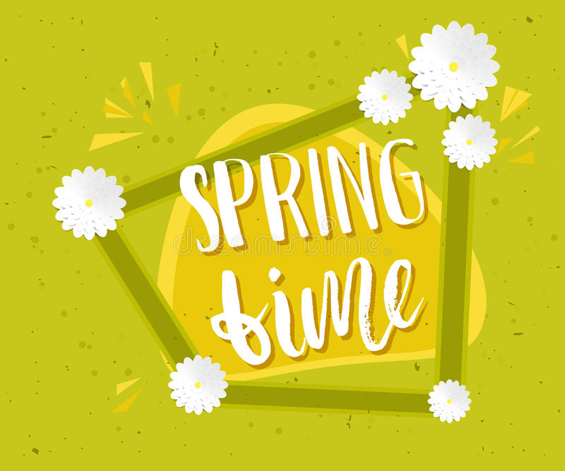 Spring sale banner design in green background with flowers and leaves drawings for seasonal marketing promotion. Spring time, Vect stock illustration