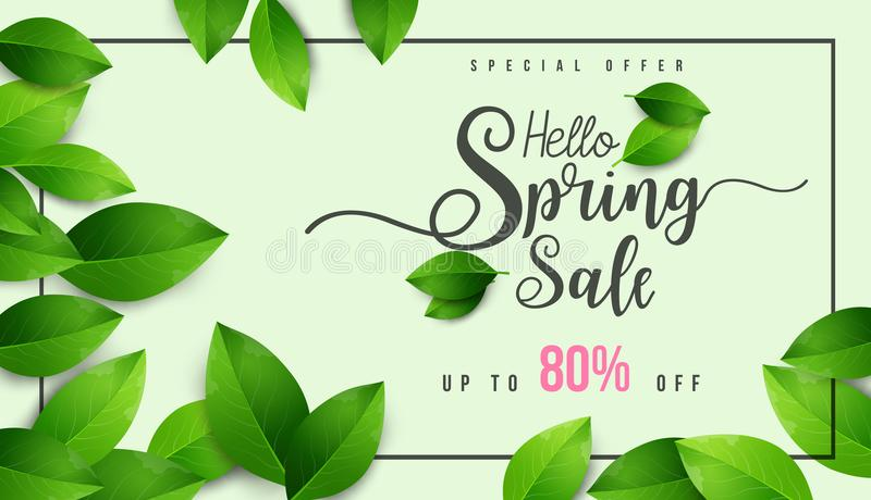 Spring Sale Banner with flowers, leaf and colorful background. royalty free illustration