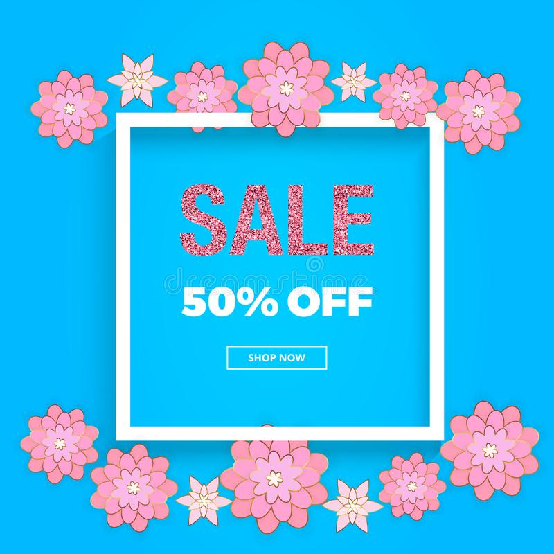Spring sale banner with flowers, pink glitter texture on the blue background. Template for online shopping, designs, poster, invit stock illustration