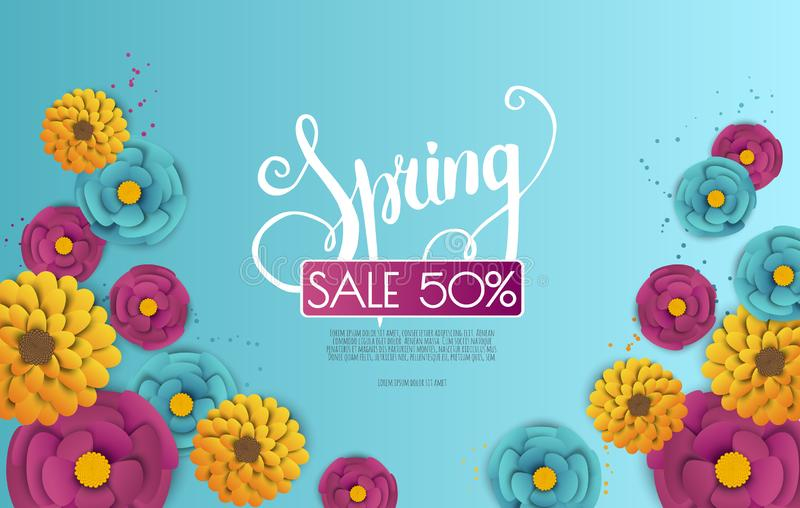 Spring sale banner with paper flowers on a white background. royalty free illustration