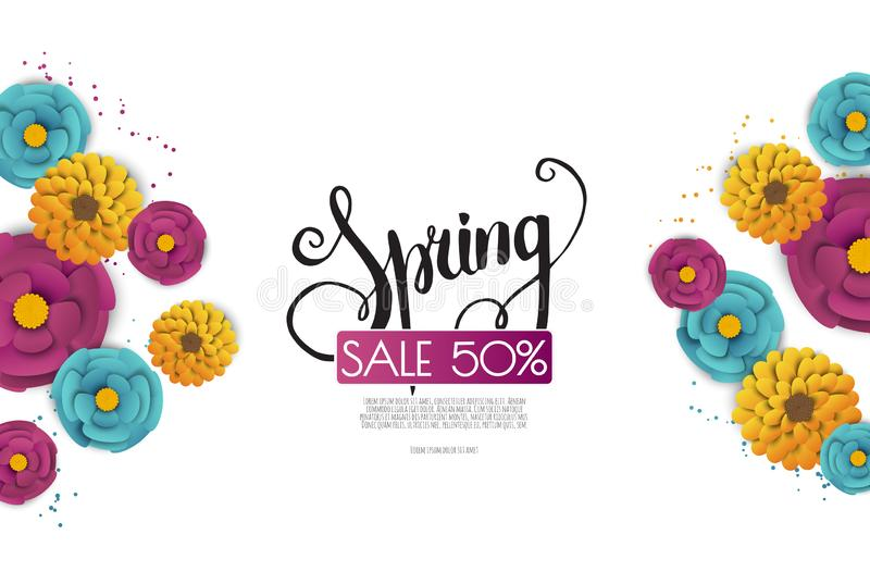 Spring sale banner with paper flowers on a white background. stock illustration