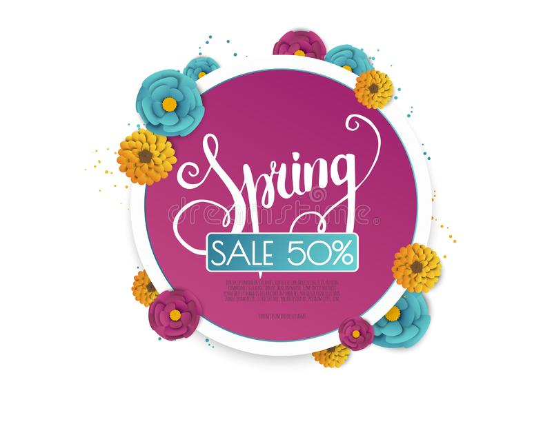 Spring sale banner with paper flowers on a white background. vector illustration