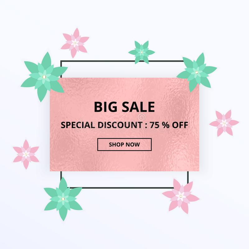 Spring sale banner with pink and green flowers, foil texture. Template for online shopping, designs, poster, invitation, party, bi stock illustration