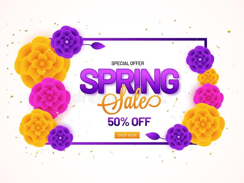 Spring Sale banner or poster design with 50% discount offer and paper flowers. vector illustration