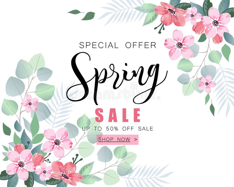 Spring sale banner with sakura flowers and eucalyptus. vector illustration