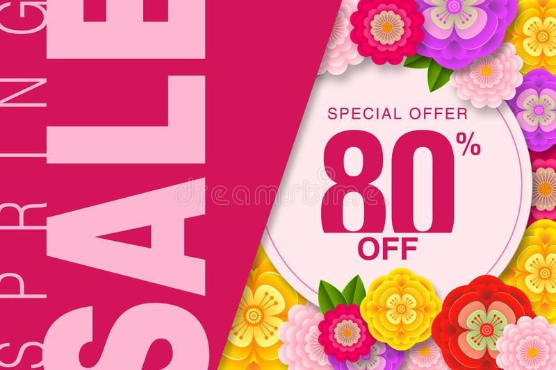 Spring sale Banner Special offer 80% Off Background with beautiful flower  illustration template royalty free illustration