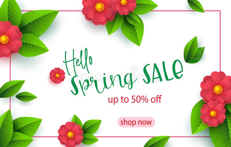 Spring sale banner template with paper cut flower for online woman shopping, vector illustration. Spring sale. Place for. Your text. Vector illustration stock illustration