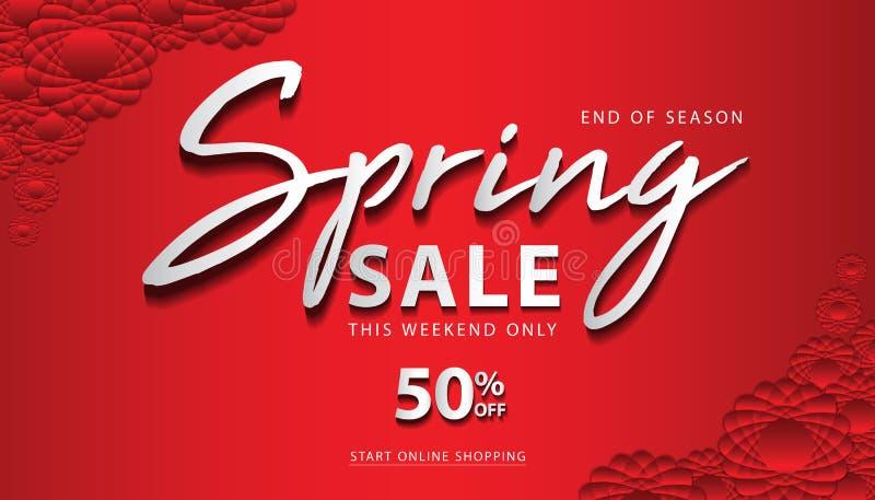 Spring Sale Banner template, web page, banner design, flower concept, floral vector. Red background stock illustration