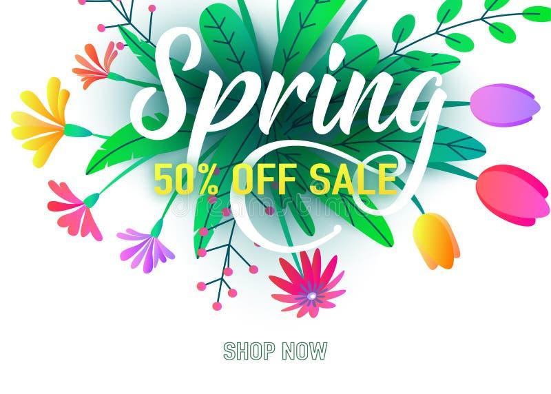 Spring sale banner vector background with flat minimal flowers, leaves, lettering sign. Floral springtime graphic design royalty free illustration