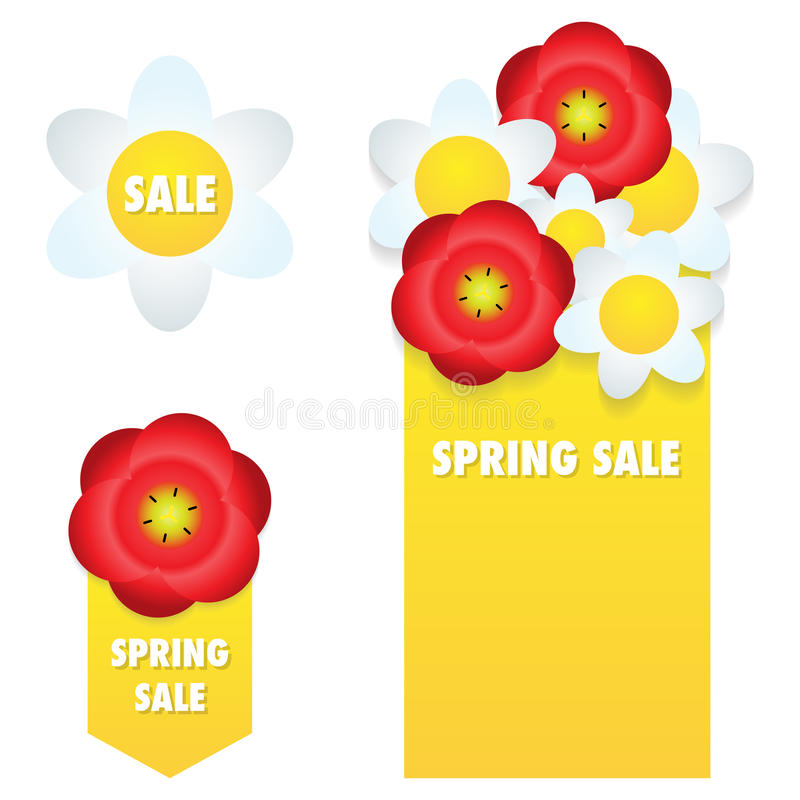 Spring sale banners and labels royalty free illustration