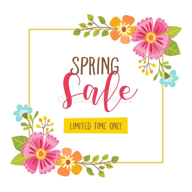 Spring sale Card. Limited time offer. Floral spring sale card with limited time offer text included. Cute floral frame, perfect for backgrounds, cards, posters royalty free illustration