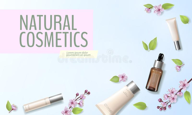 Spring sale cherry blossom organic cosmetic ad template. Skincare essence pink spring promo offer flower 3D realistic vector illustration