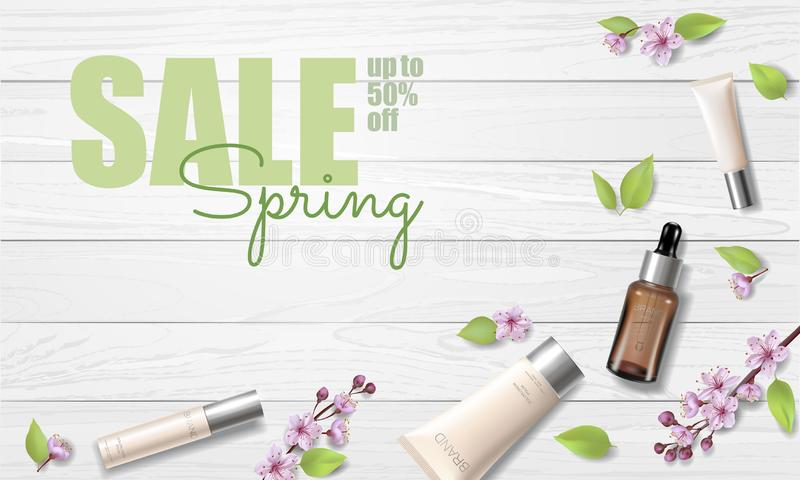 Spring sale cherry blossom organic cosmetic ad template. Skincare essence pink spring promo offer flower 3D realistic. Mockup. Sakura wooden plank background vector illustration