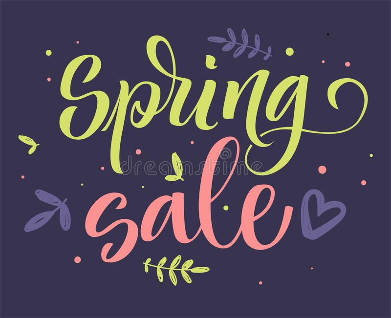 Spring sale colorful calligraphy vector illustration