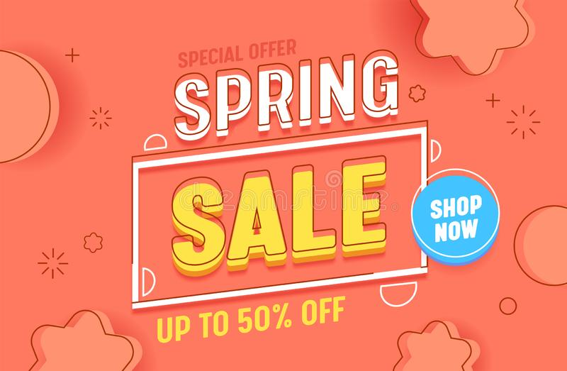 Spring Sale Coral Horizontal Abstract Background Banner Template. Business Promotion Discount Special Price Poster royalty free illustration