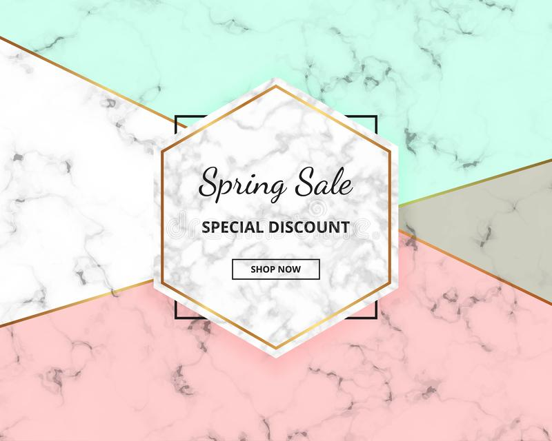 Spring sale cover geometric design with marble texture and gold glitter lines, green and pink colors background. Template for desi vector illustration