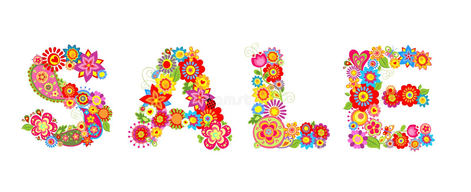 Spring sale with flowers letter royalty free illustration