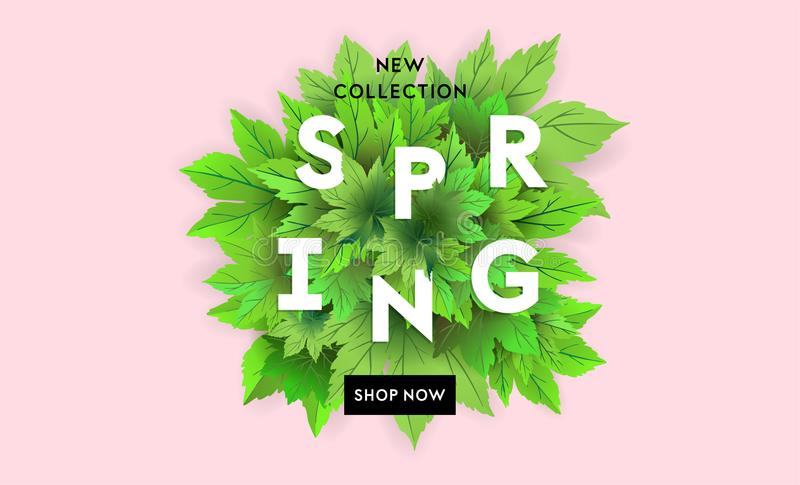 Spring Sale Flyer Template With Lettering And Bright Green Leaves