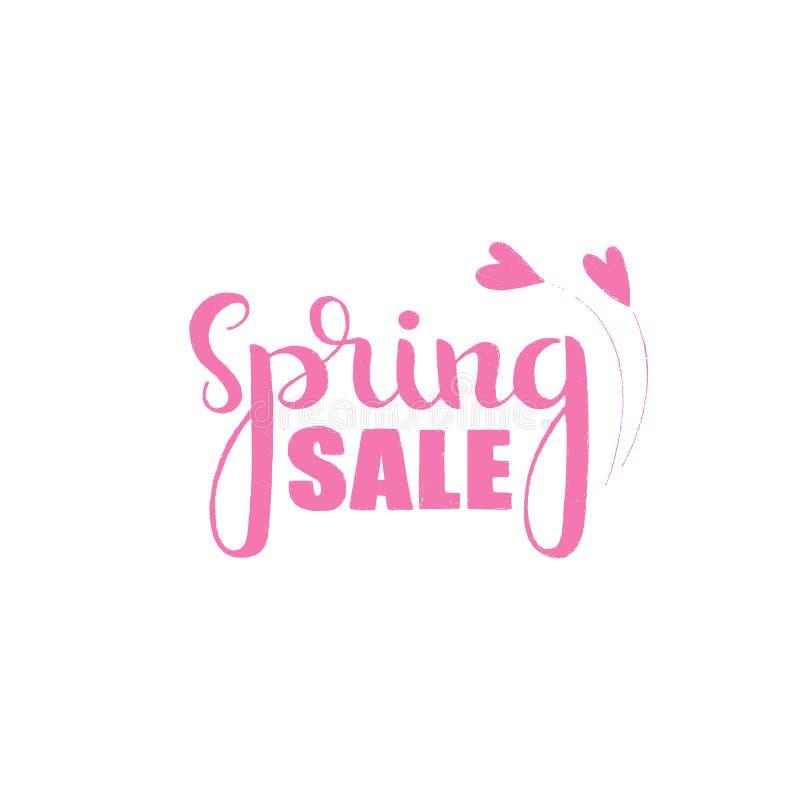 Spring sale handwritten lettering stock illustration