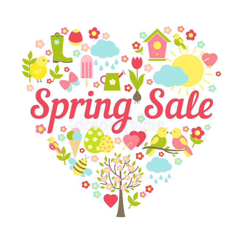 Spring sale heart vector illustration