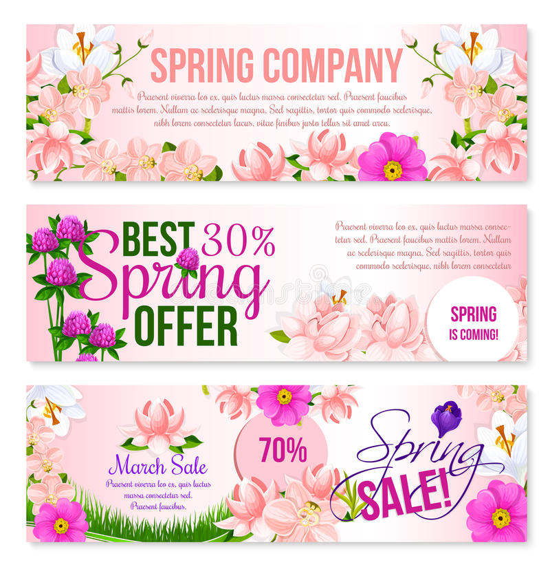 Spring sale holiday shopping vector floral banners vector illustration