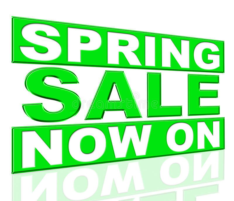 Spring Sale Means At The Moment And Currently. Spring Sale Showing At The Moment And Promo stock illustration