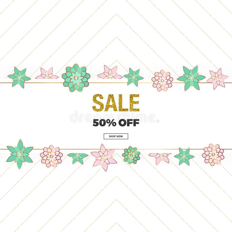 Spring sale, Mother`s Day and 8th of March banner with pink and green flowers, glitter texture. Template for online shopping, des vector illustration