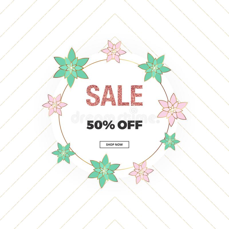 Spring sale, Mother`s Day and 8th of March banner with pink and green flowers, glitter texture. Template for online shopping, desi vector illustration