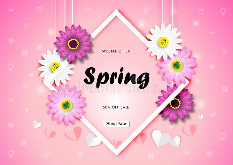 Spring Sale Off Background with Colorful Daisy Flower Vector stock illustration