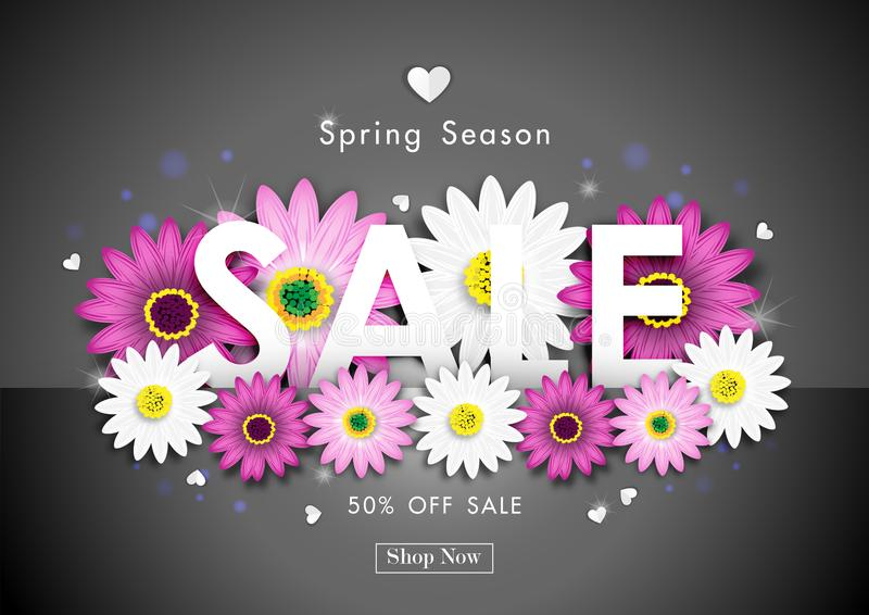 Spring Sale Off Background with Colorful Daisy Flower Vector vector illustration