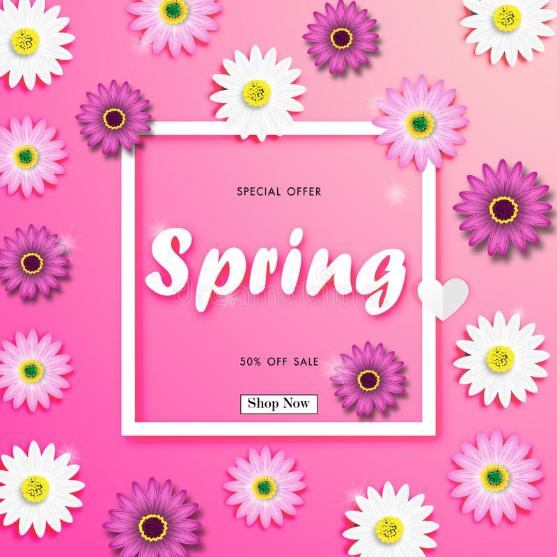 Spring Sale Off Background with Colorful Daisy Flower Vector royalty free illustration
