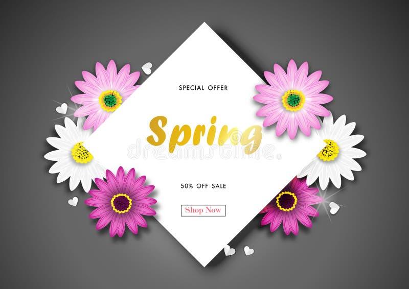 Spring Sale Off Background Blossom Design Vector royalty free illustration