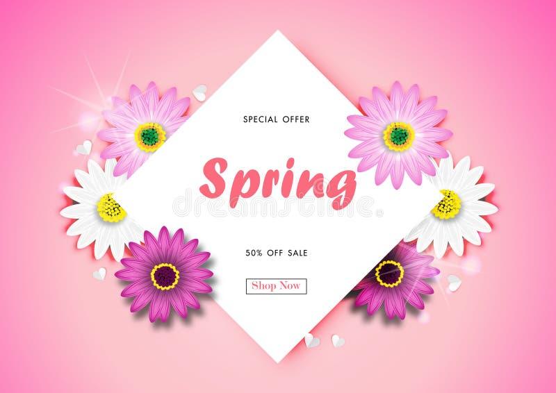Spring Sale Off Background Blossom Design Vector stock illustration