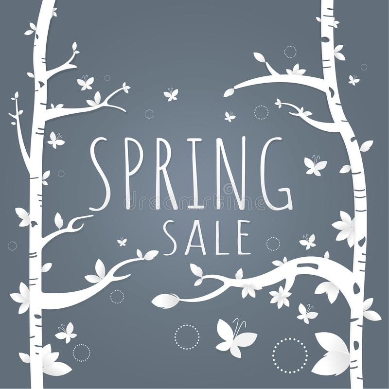 Spring sale paper and tree. Leaves. Butterfly. white on Dark gray background for banner, flyer, poster, web site or greeting card stock illustration