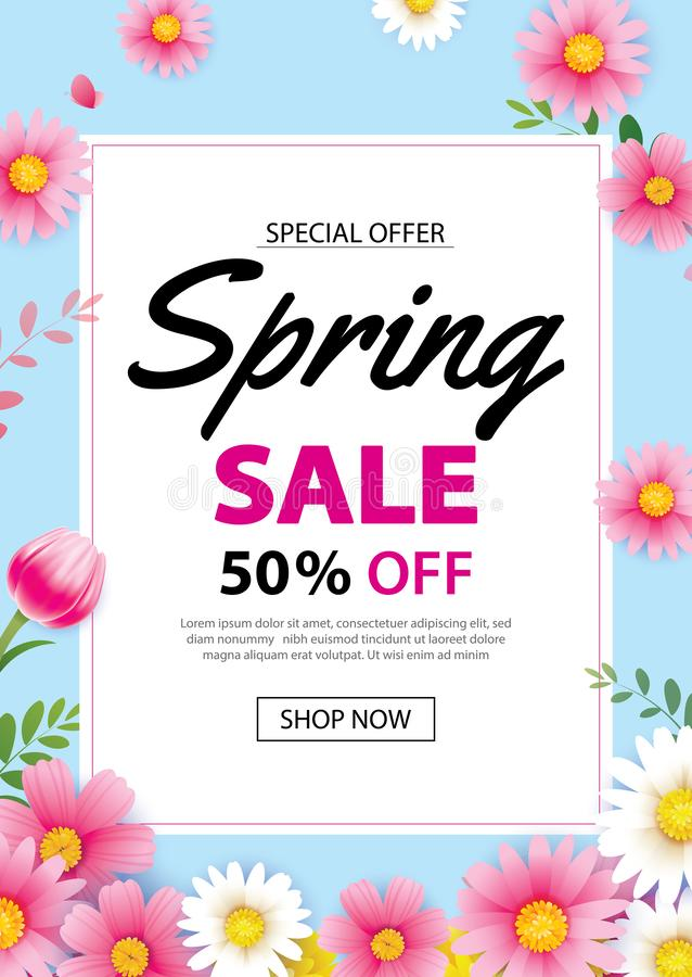 Spring sale poster banner with blooming flowers background template. Design for advertising, voucher, flyers, brochure, cover stock illustration