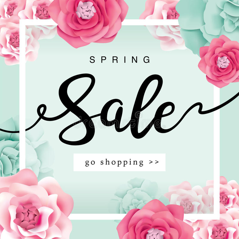 Spring Sale Poster stock illustration