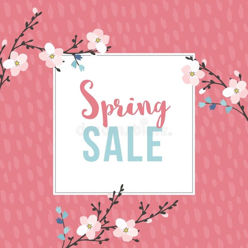 Spring sale poster with blossoming cherry tree branches. Seasonal business concept. Vector illustration backgrouns. Flat vector illustration