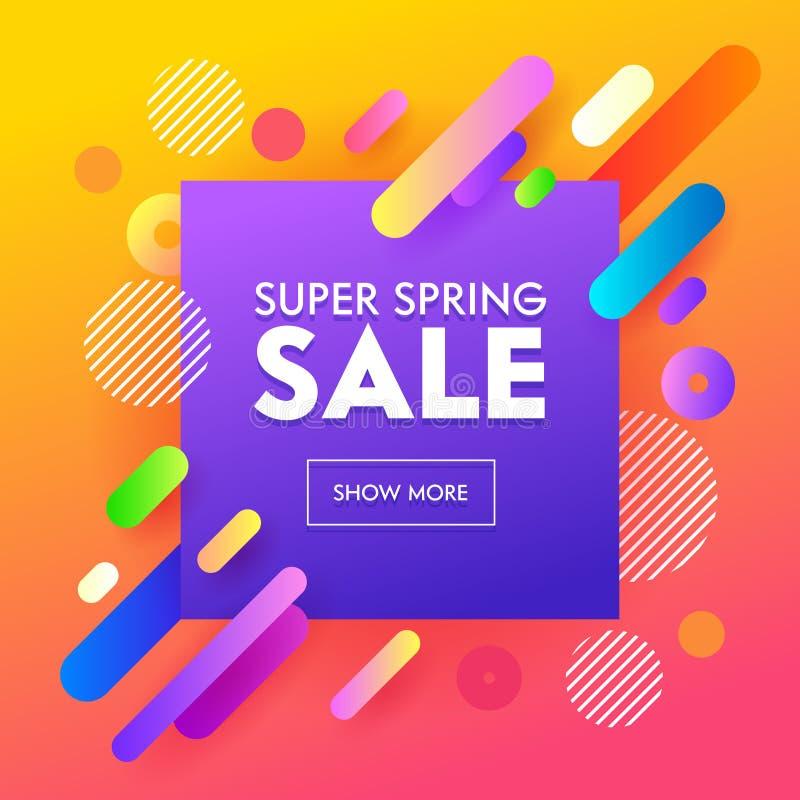 Spring Sale Poster Colorful Design on Orange Background for Online Store Voucher or Gift Certificate. Abstract Promotion Banner vector illustration