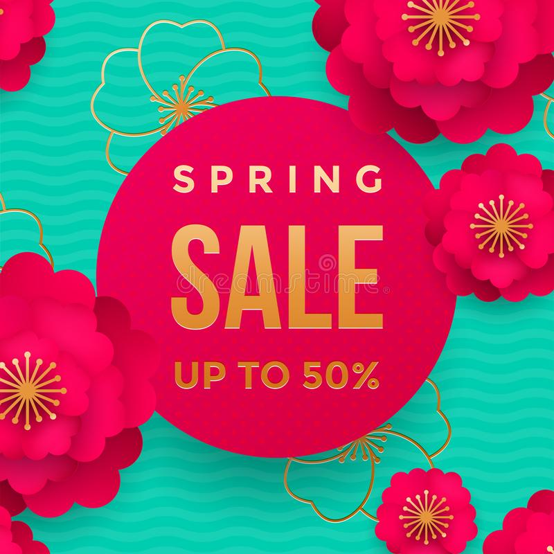 Spring sale poster or web banner design template. Vector springtime flowers and golden glitter text for discount promo. Spring sale poster or web banner design vector illustration