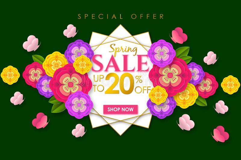 Spring sale Promotional banner background with colorful flower and butterfly for Special spring offer 20% off. Can be used for template, banners, flyers royalty free illustration
