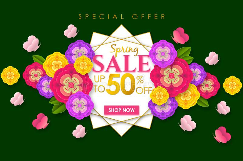 Spring sale Promotional banner background with colorful flower and butterfly for Special spring offer 50% off stock photos