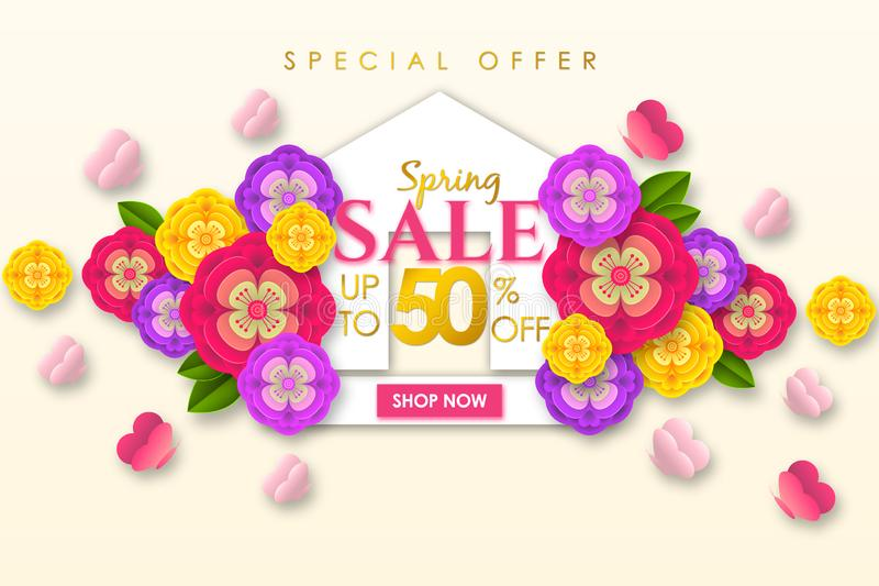 Spring sale Promotional banner background with colorful flower and butterfly for Special spring offer 50% off stock illustration