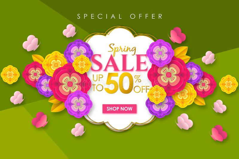 Spring sale Promotional banner background with colorful flower and butterfly for Special spring offer 50% off royalty free stock image